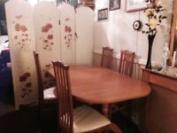 "Teak colour table 4ft.6"" extending to 6ft. & 4 chairs will split"