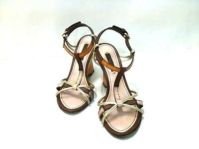 Auth LOUIS VUITTON Orange DarkBrown Beige Leather &  Hemp NL1006 Sandal Women