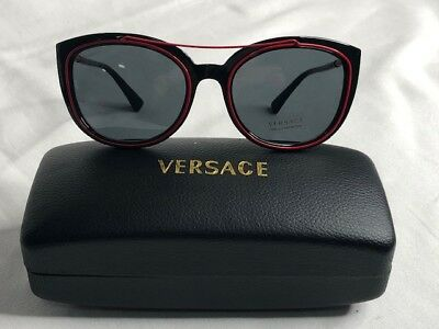 Women's NWOT VERSAGE Oval Sunglasses VE43365255/87 Black/Red (Versage Sunglasses)