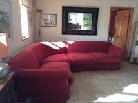 BARGAIN! Tetrad Alicia Corner sofa. Machine washable loose covers in Claret. Only £250
