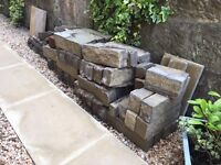 Stone wall bricks 'Anstone', buff colour x 8. Dimentions: 450mm x 100mm.