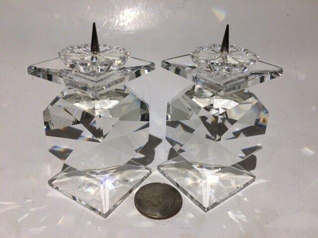 """(2) 2 7/8"""" Swarovski Crystal Prism Candle Holders Candlesticks"""