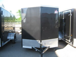 "ENCLOSED 6 x 14 + 18"" VNOSE UTILITY TRAILER WITH REAR RAMP"