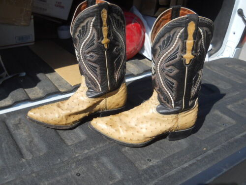 , Rodeo, Brand, Mexico, Ostrich, Leather, Western, Cowboy, Boots, Botas, Mens, 28, 1/2, , , a12