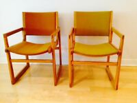 Mid-century armchairs upholstered in original fabric for sale