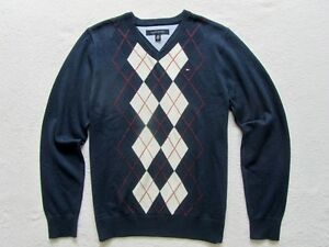 NWT TOMMY HILFIGER MENS ARGYLE V-NECK SWEATER