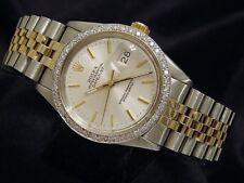 Rolex Datejust Men 2T 18K Yellow Gold Steel Silver Watch 1ct Diamond Bezel 16013