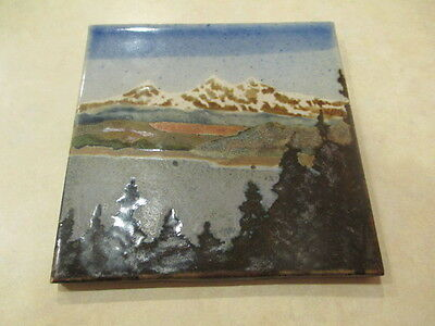 Vintage 6 X 6 Ceramic Mountain Lake Scenic Tile