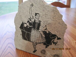 Genuine Carved Soapstone Map of Canada with Dancing Girl