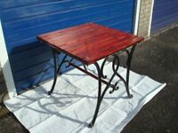 GARDEN TABLE CAST IRON LEGS WITH LATTED TOP,