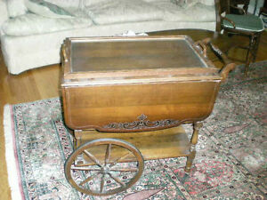 Vintage tea trolley cart with tray