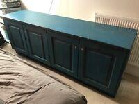 Vintage distressed Blue wood cabinet