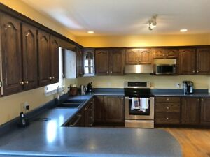 Complete Set of  Oak  Stained Kitchen Cabinets