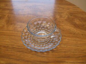 CLEAR BUBBLE GLASS DISHES- WHITE TRIM Moose Jaw Regina Area image 3