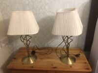 Pair of Brass Bedside Table lamps
