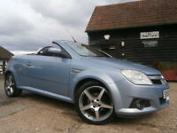 06 VAUXHALL TIGRA 1.4i16v EXCLUSIVE CONVERTIBLE ICE BLUE/SILVER 47K FSH SUPERB