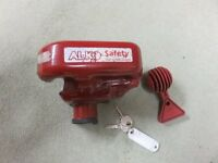 Caravan security devices, Alko hitch lock and wheel lock