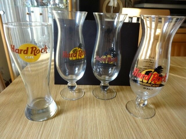4 Hard Rock Cafe glasses + 1 box