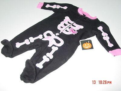 NWT Infant Girls Halloween Themed Playsuit Skeleton Spider Black Pink Trim New - Halloween Playsuit
