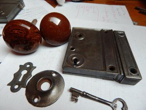 Antique Door Rim Lock Complete Brown Ceramic Knobs Night Latch
