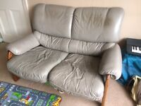 2 x 2 seater Leather sofas, light grey, plus matching foot stool