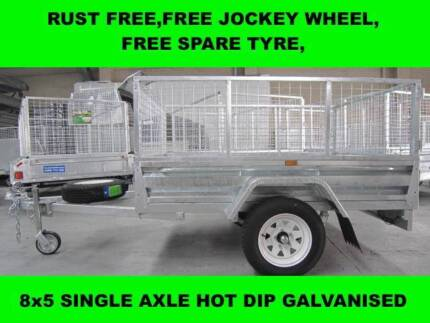 8x5 SINGLE AXLE HOT DIP GALVANISED TRAILER 2000KG GVM ON SALE NOW
