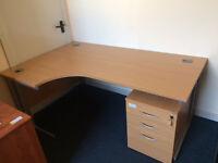 Beech Ergonomic corner desking / Office Desk / Work station / Table