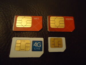4 MISC SIM CARDS ROGERS MTS FOR SALE