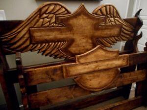 CUSTOM-ARTIST-HAND CARVED HARLEY DAVIDSON BED