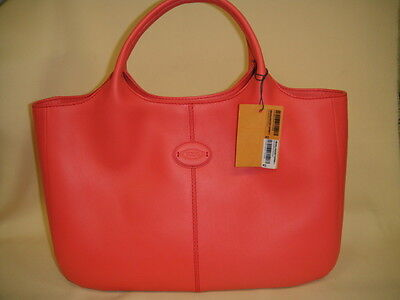 Authentic TOD'S Coral Leather Shopping PICCOLA Satchel Tote Handbag  - NWT