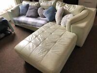 Large mint green/cream corner sofa