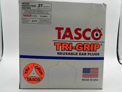 TASCO Tri-Grip 9010 Pre-Molded Reusable Earplugs Corded Orange Curved 100 PK
