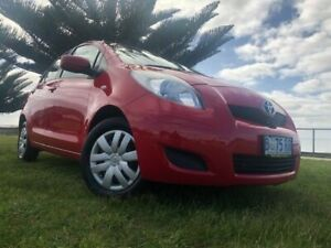 2010 Toyota Yaris NCP90R MY10 YR Red 5 Speed Manual Hatchback South Burnie Burnie Area Preview