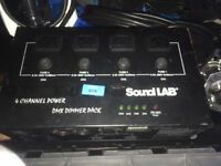 2x Sound Lab 4 Channel DMX Dimmer Pack Lighting Stage Video Animation 6.3A/ch WITH CABLES