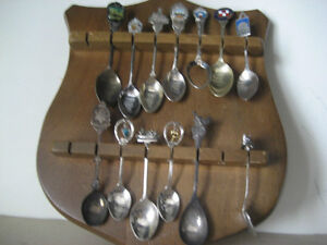 solid wood spoon rack with 13 spoons. 10X12h inches $19