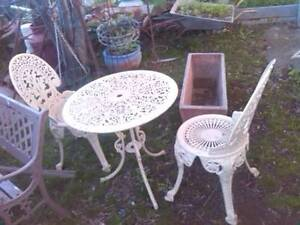 Vintage Heavy Cast Iron Garden Setting 2 chairs 1 Round Table Merrylands Parramatta Area Preview