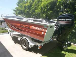 4.6 Sea Jay with New 50hp Command Thrust Mercury Tiler Steer Burrum Heads Fraser Coast Preview
