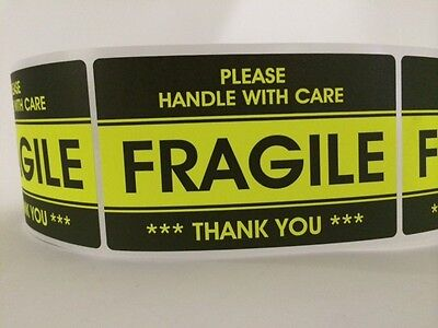 250 3.2x5.2 Fragile Stickers Handle With Carethank You Stickers Yellow Fragile
