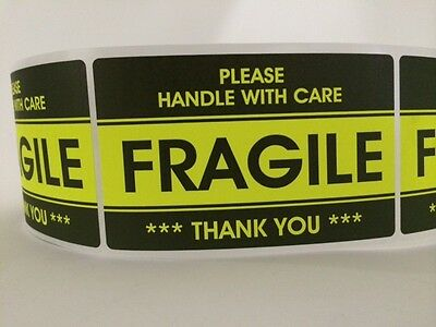 100 3.2x5.2 Fragile Stickers Handle With Carethank You Stickers Yellow Fragile