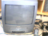 "14"" Phillips TV/Video Combi with Freeview Box, Aerial, 20 Videos and Bush Cassette/Radio/CD Player"