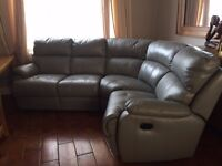 leather corner suite top quality soft leather - lights sage green-