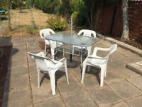 Garden and Patio Glass Table, 4 Chairs, Parasol and Metal Base for Sale