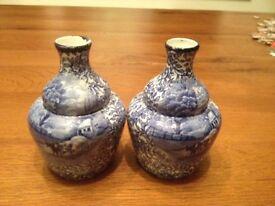"Pair of Vintage Blue and White Vases - James Kent ""Ye Olde Foley Ware"""
