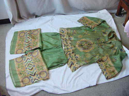 ANTIQUE CHINESE FABRIC VERY OLD TRADITIONAL DRESS PANT SUITE VINTAGE 2 PIECES