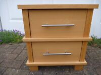 Beech 2 Drawer Bedside Cabinet in VGC