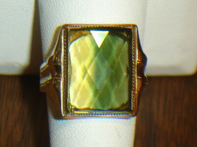 """ANTIQUE 10K YELLOW GOLD MENS RING WITH """"WATERMELON"""" NATURAL TOURMALINE"""