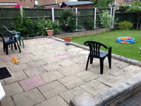 Used Paving stone flags Marshalls textured buff 450mmx450mm