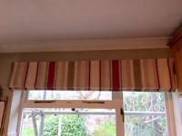 Full length curtains, with curtain rail and matching roman blind.