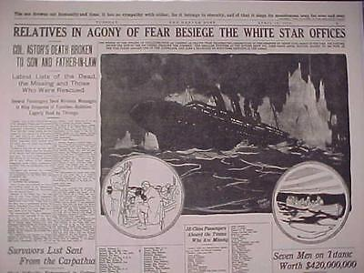 VINTAGE NEWSPAPER HEADLINE~STEAMER SHIPWRECK SINKS TITANIC WHITE STAR DISASTER