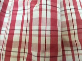 A Pair of Thermal Lined Pencil Pleat Curtains in Red and White Check Cotton